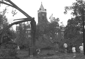 Students Surveying Damage on Front Campus
