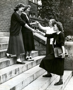 Underclassmen Paying .25 cents Fine for Using the Senior Steps-1949
