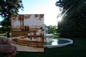 The Fountain in front of Tillman Administration Building Superimposed with a Photograph of the Same Fountain Taken in 1897.