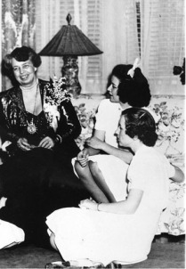 Eleanor Roosevelt Visiting with Winthrop Students at the President's Home 1940