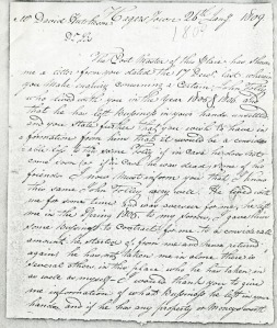 Letter from Wendell Gilbert to David Hutcheson - January 26, 1809 (page 01)