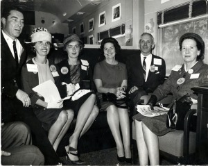 Jimmie Nunnery, Mrs. Jimmie Nunnery, Mrs. Paul Hemphill, Lady Bird Johnson, David Gaston, and Mrs. David Gaston during Lady Bird Johnson's Tour of South Carolina in 1964