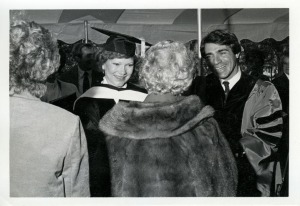 Former First Lady, Roselyn Carter, Greeting Guests with Winthrop President Phil Lader During President Lader's Inauguration Ceremony – November 1984