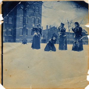 Winthrop Students Having a Snowball Fight with Main Building (Tillman Administration Building) and the Dormitory (Margaret Nance Hall) in the Background – ca. 1898