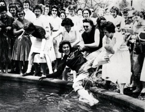1960-1961 SGA President, Geneva Knox, Being Tossed into the Winthrop Fountain - 1960