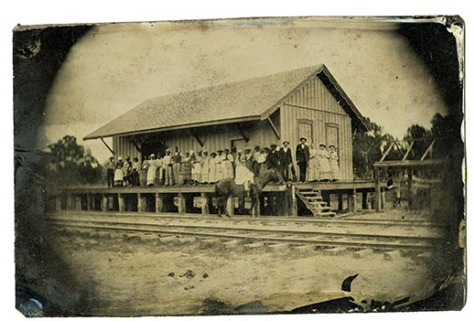 Image is a tintype of Rock Hill's original Train Depot - ca. late 1860s.