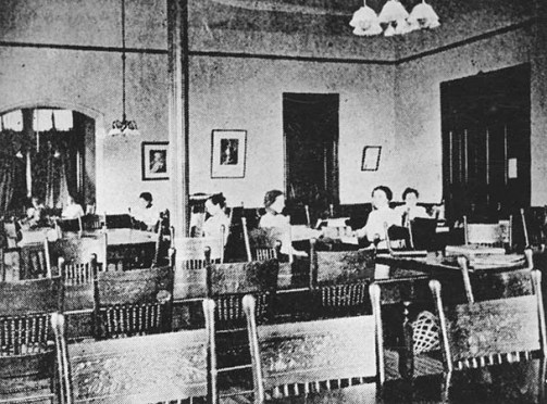 Students Studying in the Library which was located in Main Building (Tillman Hall) until Carnegie Library (Rutledge Hall) was Built in 1905.