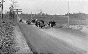 Image is of Saluda Road (Highway 72) in 1912. Saluda was Often Referred to as Saluda Speedway since it was one of the First Macadamized Roads in Rock Hill.
