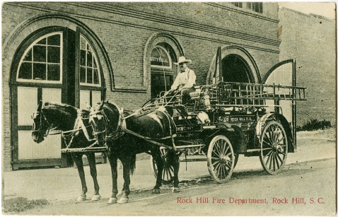 Postcard Depicting the Rock Hill Fire Department in 1909.