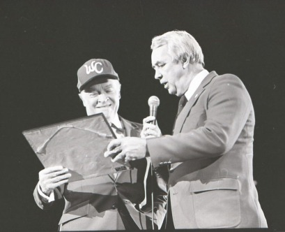 "Comedian Bob Hope receiving a gift from Robert ""Bob"" Hope (who ran the Rock Hill, SC YMCA) - November 1984"